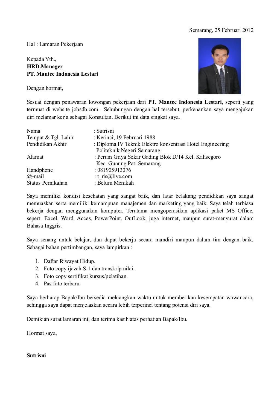 Contoh surat lamaran kerja  CV Terbaru  Cekkembali