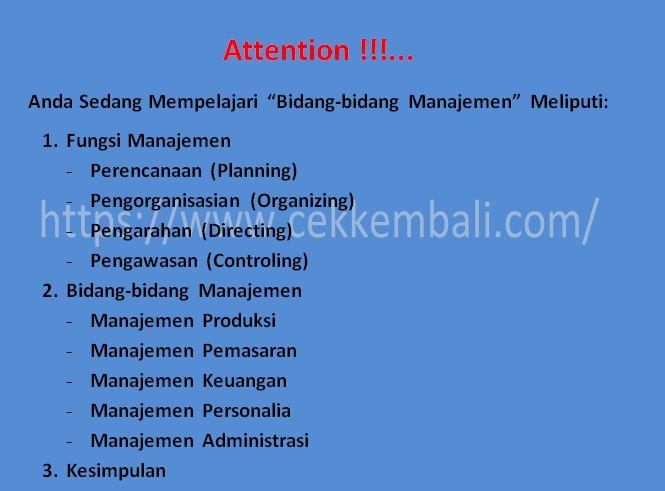 Fungsi dan Bidang - bidang Manajemen   Cekkembali